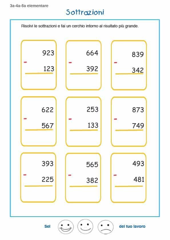 Favoloso Sottrazioni terza elementare - Esercizi di matematica per  KW68
