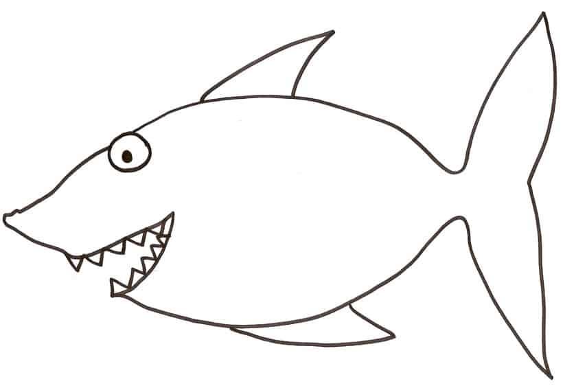 Squalo for Disegni di pesci da colorare e stampare gratis