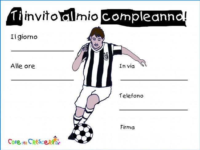 Biglietto invito compleanno con calciatore della Juventus   Cose
