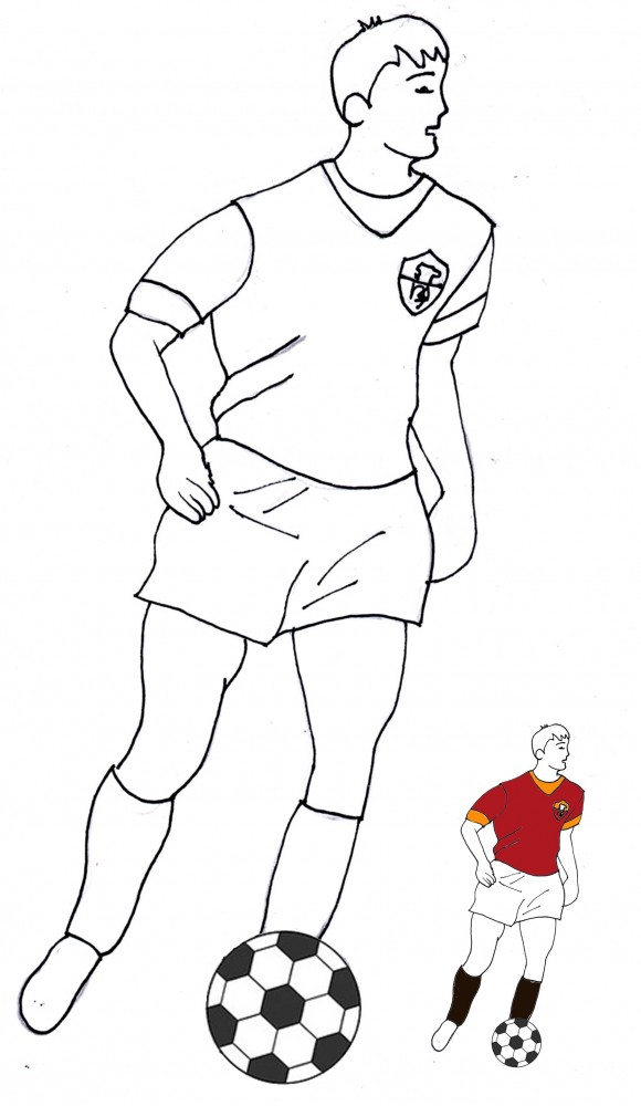 Calciatore con la maglia della roma da colorare cose per for Calciatori da colorare per bambini