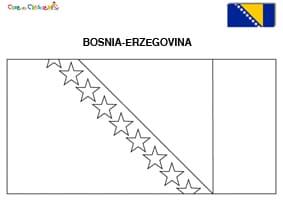 Bandiera della Bosnia Erzegovina da colorare