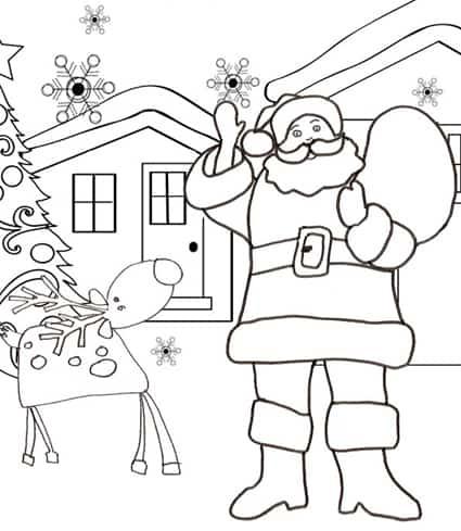 Babbo Natale con la renna da colorare