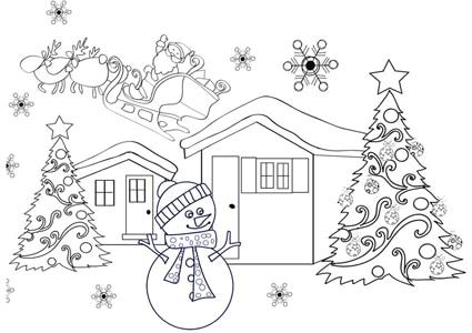 Disegno di babbo natale sulla slitta cose per crescere for Disegnare la casa