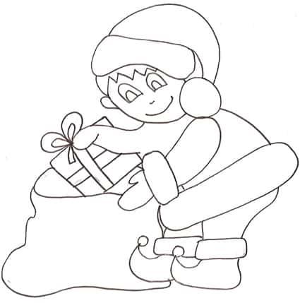 Folletto Che Riempie Il Sacco Di Babbo Natale Cose Per Crescere