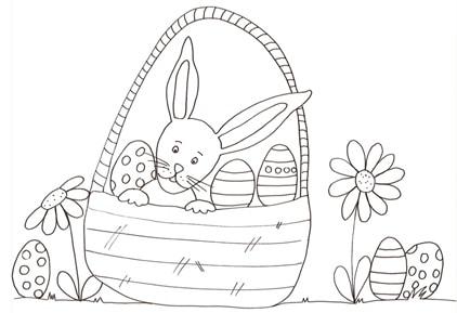 Disegno Di Coniglietto Nel Cestino Delle Uova Cose Per Crescere