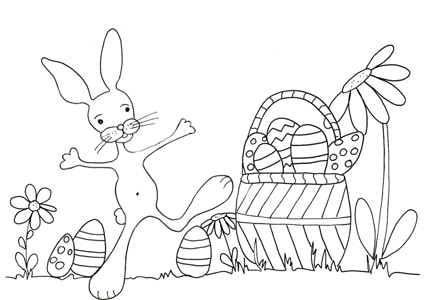 Disegno Da Colorare Coniglietto E Cesto Di Uova Cose Per Crescere