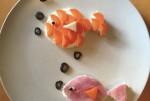 Pesci di formaggio, prosciutto e carote per merenda