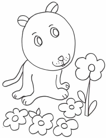 Cagnolino fiori - Cucciolo da colorare stampabili ...