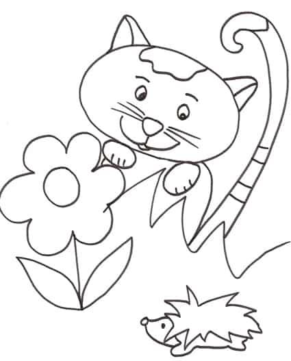 Cucciolo di gatto con un riccio da colorare cose per for Riccio da colorare