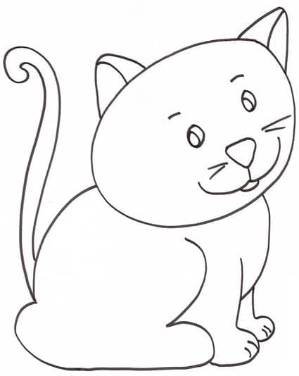 Gattino seduto - Cucciolo da colorare stampabili ...
