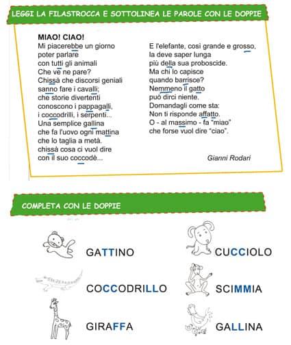 Esercizio sulle doppie scuola primaria - Parole con due significati diversi ...