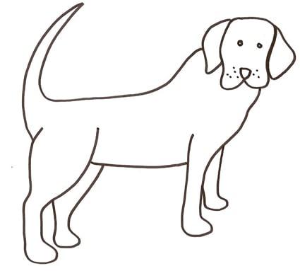 Cane da caccia da colorare cose per crescere for Cane disegno facile