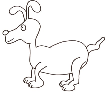 Cane dalle lunghe orecchie da colorare cose per crescere for Immagini di cani da disegnare