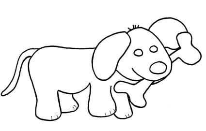 Cane osso for Disegni da stampare e colorare di cani