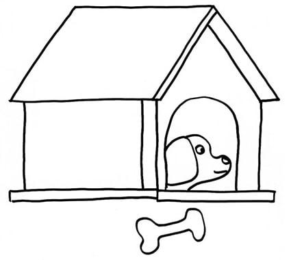 Cane nella cuccia da colorare cose per crescere for Cane disegno facile