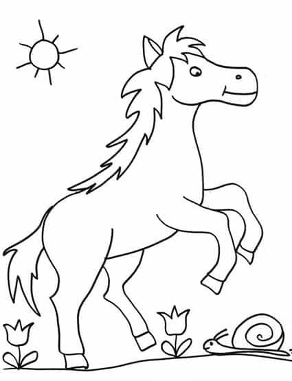 Cavallino felice disegno da colorare cose per crescere for Immagini di cavalli da disegnare