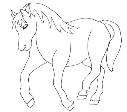 Disegno di stallone cose per crescere for Disegni da colorare animali della foresta