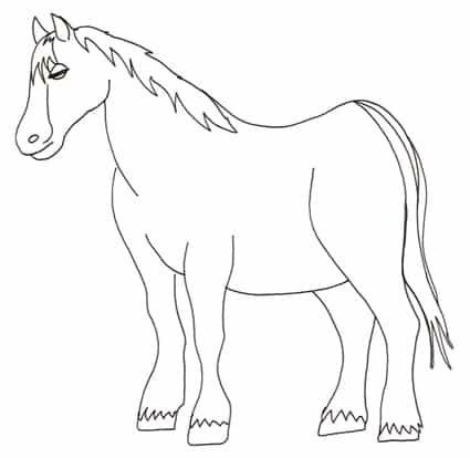 Cavallo da fattoria da colorare cose per crescere for Disegni di cavalli a matita