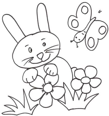 Disegno Da Colorare Coniglietto Con Farfalla Cose Per Crescere