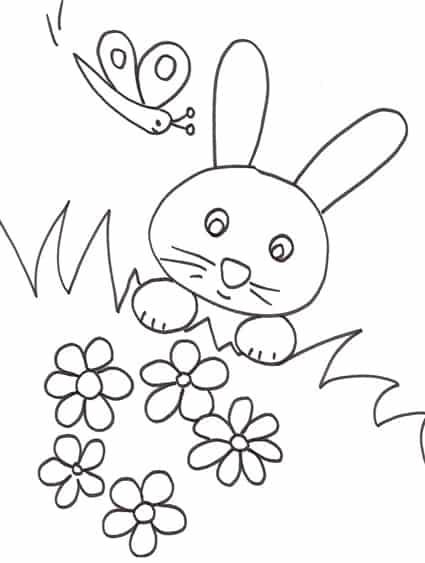 Un Coniglietto In Mezzo All Erba Da Colorare Cose Per Crescere