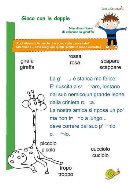 Fabuleux Esercizio d'italiano sulle doppie scuola primaria GR42