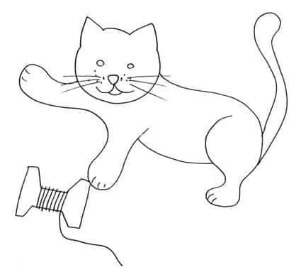 Gattino che gioca da colorare cose per crescere - Gatto disegno modello di gatto ...