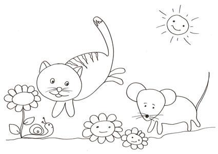 Gatto e topo da stampare e colorare cose per crescere for Immagine di un disegno di architetto