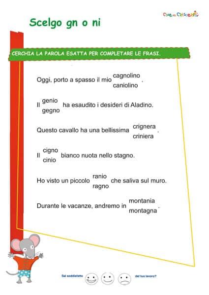 Frasi Sul Natale Per Bambini Scuola Primaria.Esercizio Con Gn O Ni Scuola Primaria