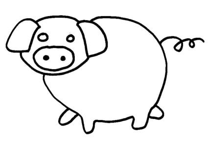 Maiale tondo for Maialino disegno per bambini
