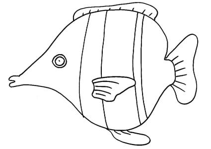 Pesce tropicale for Disegni da colorare pesciolini