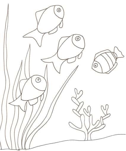 Pesci in acquario da colorare cose per crescere for Disegni da colorare pesciolini