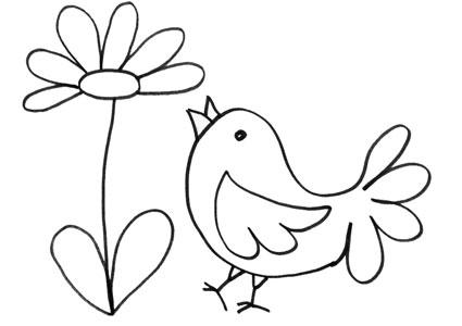 Disegno di pulcino nei fiori da stampare e colorare for Fiori da colorare e stampare