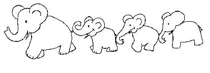 Elefanti in fila da colorare - Cose Per Crescere