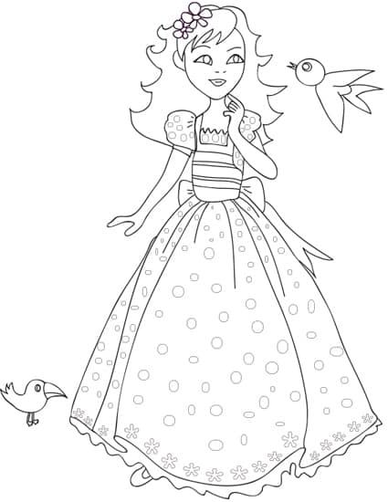 Principessa aurora da colorare
