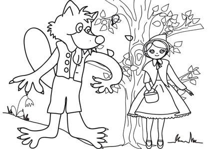 Cappuccetto rosso e il lupo disegno da colorare cose for Cappuccetto rosso da colorare