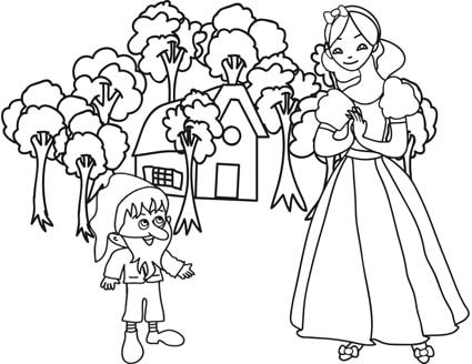 Immagini Dei Sette Nani Da Colorare.Disegno Di Biancaneve E Della Casa Dei Sette Nani Cose Per