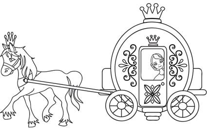 Disegni Da Colorare Cavalli Con Carrozza.Cenerentola Nella Carrozza Disegno Da Colorare Cose Per Crescere