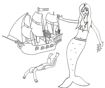 La sirenetta e il principe caduto dalla nave da colorare for La sirenetta da stampare