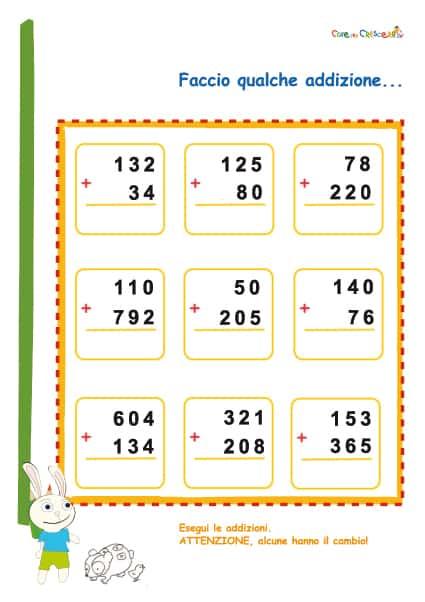 Addizioni in colonna con due o tre cifre