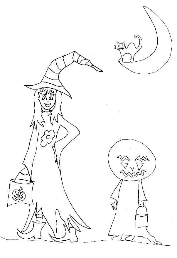 Disegno per Halloween ad colorare