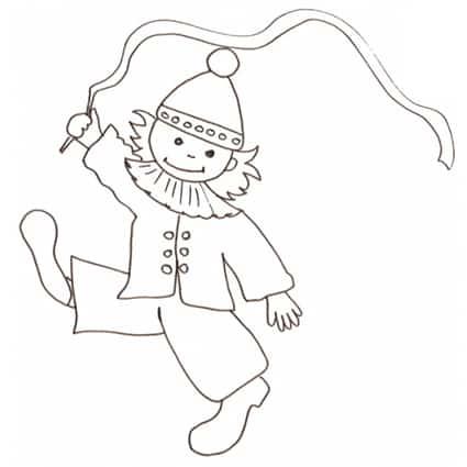 Bimbo clown nastro for Disegno pagliaccio colorato