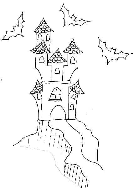 Disegno castello con fantasmi da colorare