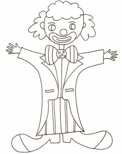 disegno di pagliaccio che ride da colorare