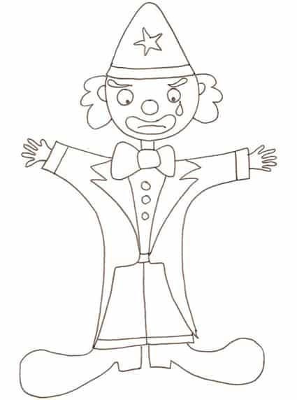 disegno di clown triste da colorare