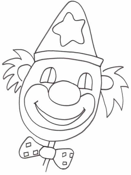Faccia clown for Pagliaccio da colorare