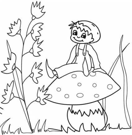 Pollicino seduto sul fungo  da colorare - Cose Per Crescere 5ba9de1dc359