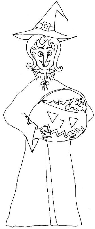 Disegno di strega con zucca