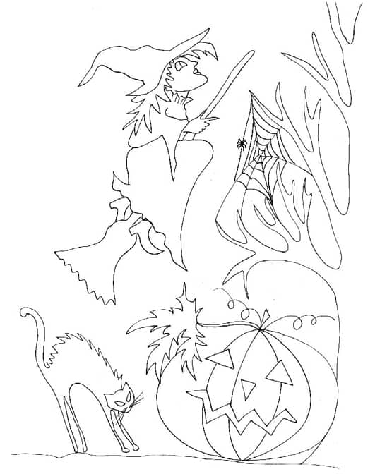 Disegna di strega per Halloween