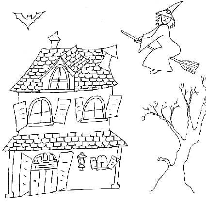Casa della strega da colorare cose per crescere - Casa di halloween da colorare pagine da colorare ...