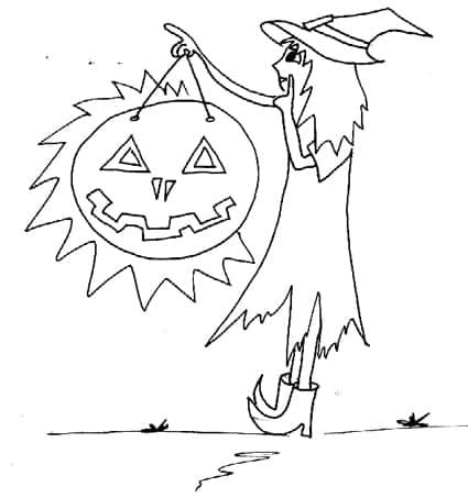Piccola strega di Halloween da colorare - Cose Per Crescere ecc62d482fb0